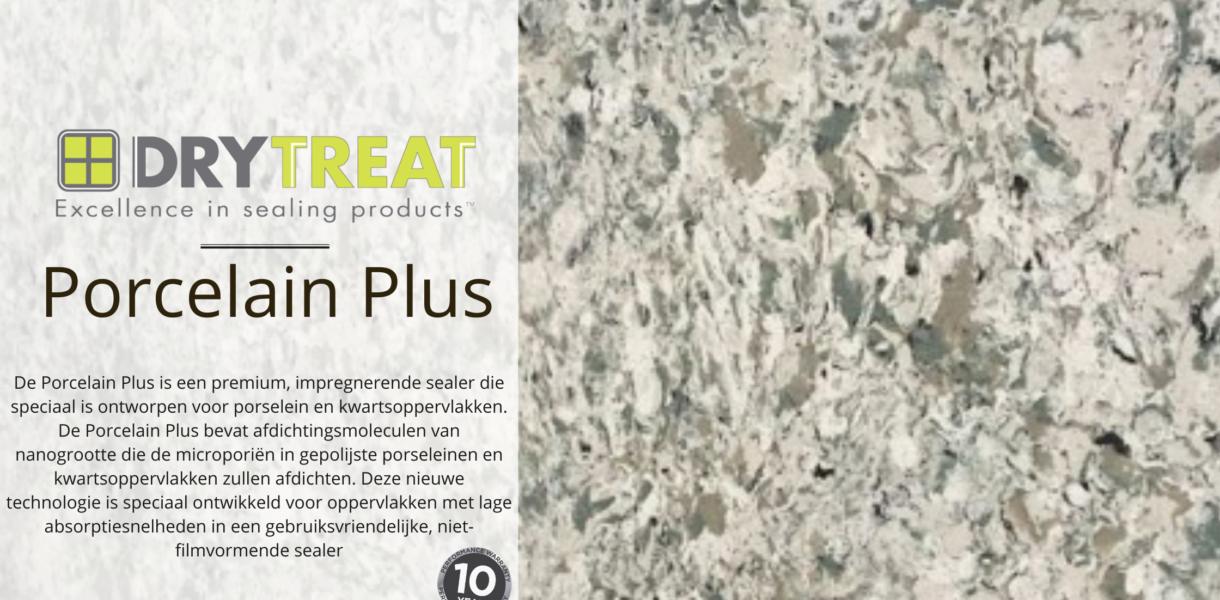PORCELAIN PLUS ™, is een premium, impregnerende sealer die speciaal is ontworpen voor porselein en kwartsoppervlakken. Porcelain & Quartz Sealer bevat afdichtingsmoleculen van nanogrootte die de microporiën in gepolijste porseleinen en kwartsoppervlakken zullen afdichten. Deze nieuwe technologie is speciaal ontwikkeld voor oppervlakken met lage absorptiesnelheden in een gebruiksvriendelijke, niet-filmvormende sealer.